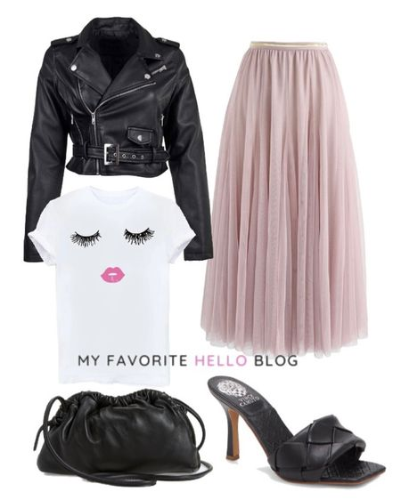 Tulle skirt edgy outfit. Tulle skirt outfit edgy. Tulle skirt with leather just, graphic tee, braided heels http://liketk.it/3gcXR #liketkit @liketoknow.it #edgyoutfit #tulleskirt #leatherjacket  #LTKshoecrush #LTKunder100 #LTKstyletip