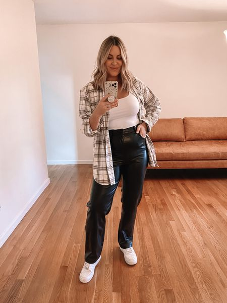 Abercrombie Fall outfit 25% off! Wearing M in tops and 29 in pants (recommend sizing up if I'm between sizes). If you're looking for faux leather pants, these are the comfiest I've found & have a little stretch to them!