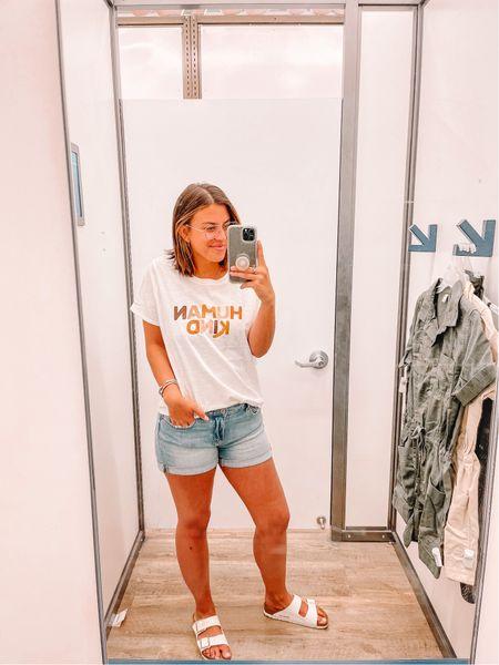 Love this cute graphic tee and comfy jean shorts.   #LTKstyletip #LTKunder100 #LTKunder50