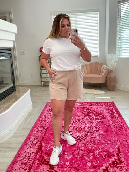 curvy fit look! wearing size 12 in tee and 14 in shorts!   #LTKunder100 #LTKfit #LTKcurves