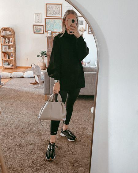 Leggings outfit, black turtleneck sweater, tunic sweater, black leggings, new balance sneakers   #LTKSeasonal