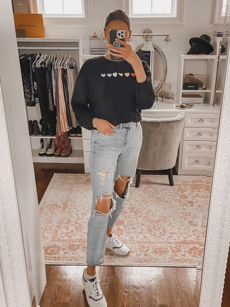 Mom jeans and a shein pullover - casual outfit, ripped jeans, Ae   #LTKstyletip #LTKunder50 #LTKunder100