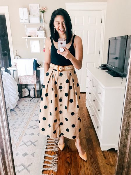 Today's outfit is a maxi polka dot skirt with the comfortable suede heels and bodysuit. Tied everything together with a rattan belt. Everything fits true to size! My skirt is from The Who what wear collection. http://liketk.it/2C2dF #liketkit @liketoknow.it #LTKunder100 #LTKunder50 #LTKstyletip #LTKshoecrush #LTKspring
