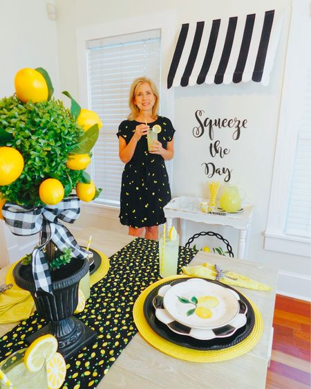 Isn't this striped awning mom made stinkin cute?!  All you have to do is: 1. Buy striped fabric 2. Scallop the edges 3. Sew a casing in the back 4. Buy a curved curtain rod 5.  Insert rod in casing. . EASY PEASY LEMON SQUEEZY 💛🍋☺️ Moms dress is still on sale for $25!! Link here👉🏼 http://liketk.it/2BpCQ @liketoknow.it  . . . #houston #houstonblogger #abmlifeiscolorful #pursuepretty #partyblogger #partyinspo #partyblogger #paperflowers #partystylist #partydesigner #partydecor #lemondrop #lemon #lemonade #springparty #partydecorations #liketkit