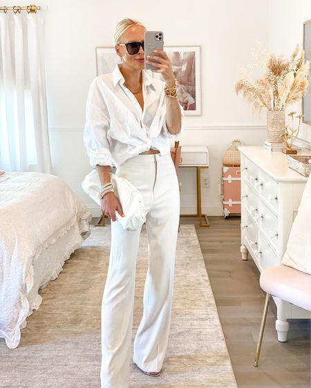 Victoria Emerson accessories. All white. Monochromatic. White button down shirt. Wide leg trousers beige.   #LTKunder50 #LTKstyletip #LTKSeasonal