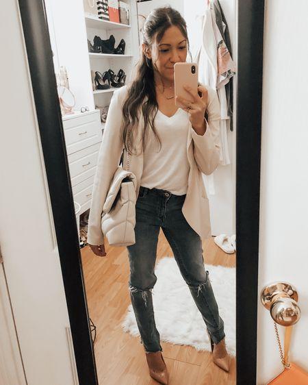 Spring Light Blazer. Basic white tee. Easy relaxed jeans. Classic pump. Some of my wardrobe staples 🤍✨ xo my friends   http://liketk.it/3eMmn #liketkit @liketoknow.it #LTKstyletip #LTKunder100
