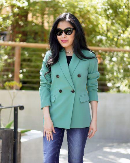 Spring business casual http://liketk.it/3bWlS #liketkit @liketoknow.it #LTKSpringSale  Ann Taylor Petite Double Breasted Green Blazer Bee Ring  Black cateye sunglasses