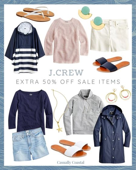 """J.Crew is having their """"end of the season"""" sale, and all sale styles are currently an extra 50% off with code """"HELLOFALL,"""" including all of these shorts and long sleeves, which are great for transitioning into fall! - beach style, preppy style, summer fashion, resort style, resort wear, J.Crew, summer sale, vacation style, casual summer outfits, casual beach outfits, distressed jean shorts, distressed cut off shorts, distressed cutoffs, 4"""" cutoff, 4"""" denim short, high rise denim shorts, high rise jean shorts, high rise cutoffs, J.Crew shorts, ponchos, leather sandals flat, flat sandals, flat leather sandals, neutral slides, neutral sandals, white sandals leather, white sandals flat, light sweaters, fall sweaters, summer sweaters, rain jackets, rain coats for women, statement earrings, summer accessories, summer accessories jewelry, summer earrings, white flip flops, navy sandals, starfish jewelry, long sleeve t-shirts, long sleeve shirts, navy long sleeve shirt   #LTKunder100 #LTKsalealert #LTKunder50"""