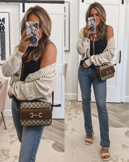 Sweater cardi Sz small tank Sz small Jeans sz 26  Braided dupe sandals tts Gucci crossbody handbag  Pop socket stone    #LTKstyletip #LTKitbag #LTKGiftGuide