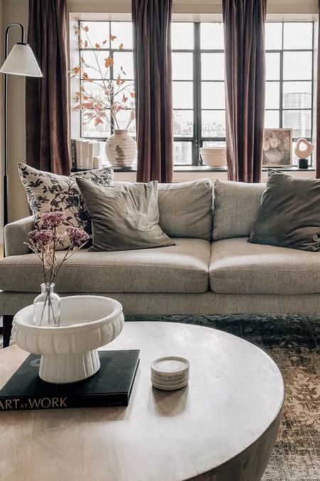 Fall living room decor & furniture, throw pillows, sofa, accent chair, coffee table, curtains and more    #LTKhome #LTKSeasonal