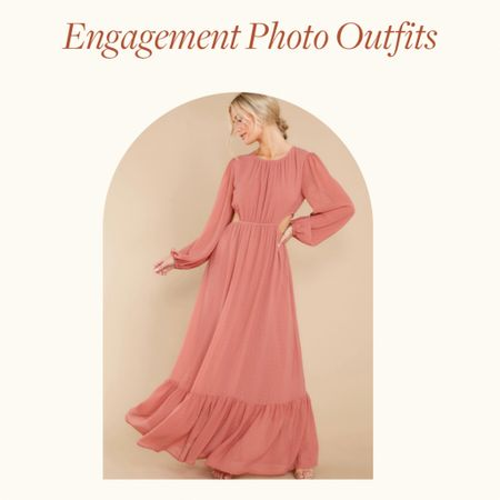 Engagement Photo Outfits Ideas—  Dusty rose maxi dress, with ruffle details is perfect for Spring engagement photo outfits, summer engagement photos outfits and fall engagement photos outfits   Would be a great wedding guest dress option too!    http://liketk.it/38nTO #liketkit @liketoknow.it       #LTKVDay #LTKstyletip #LTKwedding
