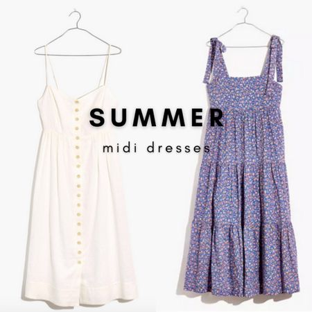 Floral and white summer midi dresses  Get $25 off $125 at Madewell this weekend with code LTKDAY  #LTKunder100 #LTKDay #LTKsalealert
