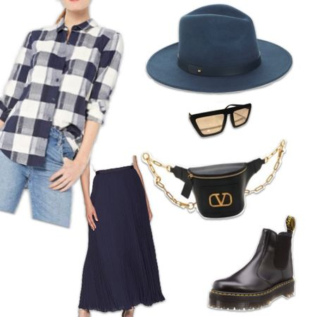 Checkered top, blue pleaded skirt, blue felt hat, Quay sunglasses, Doc Martens and a Valentino waist bag / cross body.  I can live in this outfit all winter!! #LTKSeasonal #LTKitbag #LTKstyletip    http://liketk.it/36FCD #liketkit @liketoknow.it #amazonfashion #amazonfinds #plaid #pleaded #felthat #docmartens