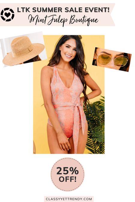 classy yet trendy, LTK DAY, #LTKDAY, The Mint Julep Boutique LTK Day Sale!, 25% Off, coral swimsuit, straw hat, sunglasses  #LTKstyletip#LTKshoecrush#liketkit @liketoknow.it  #LTKsalealert #LTKDay #LTKunder100