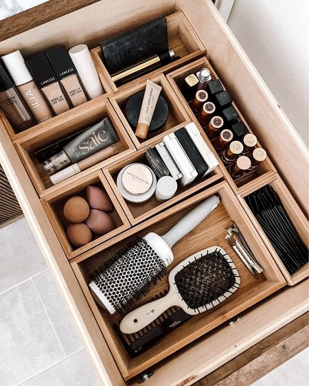 Got these bamboo drawer organizers from Amazon to keep all my makeup and beauty products organized in my bathroom   #LTKbeauty #LTKhome #LTKunder50