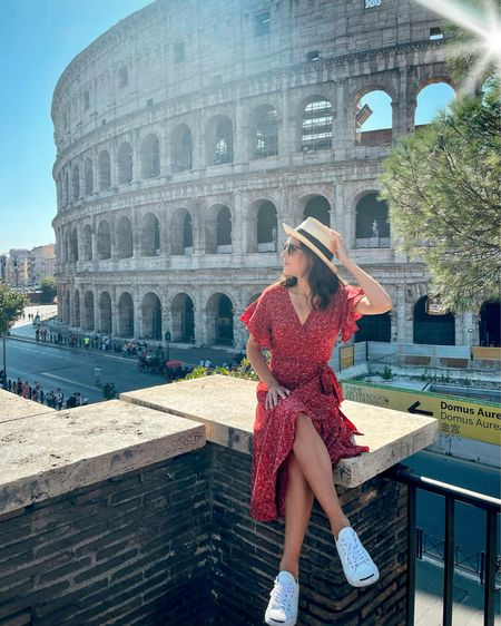 Travel style tip: pack a red dress (or a dress in your favorite color!) 💃🏽 I always feel extra confident in red, and the color pops in photos! And if it's going to be a long, sightseeing day in the sun, wear comfy white sneakers 👟 and a straw hat 👒 (Vacay, travel, Europe trip, casual chic, floral dress)  #LTKtravel #LTKstyletip #LTKunder100