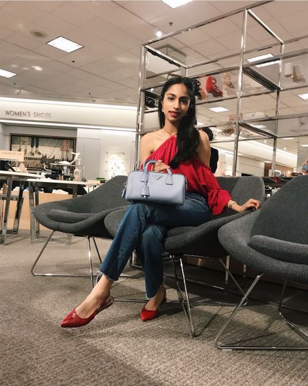 Give a girl a good pair of shoes and a nice bag and you've won her heart ♥️ Who's with me?? #redandblue #summerstyle #bagsandshoes #pradabag #1state #aglshoes #abercrombiejeans #liketkit @liketoknow.it http://liketk.it/2w7MA