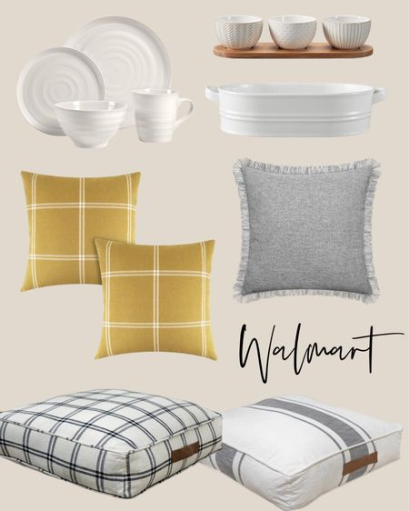Home decor accessories and serving items to add to your home. Versatile pieces for all styles .  Walmart finds I love.  Floor pillows, throw pillow set, white serving pieces.    #LTKhome #LTKunder50 #LTKSeasonal