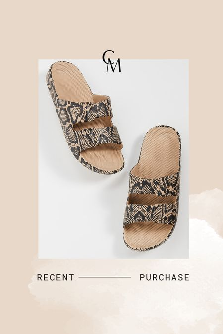 Freedom Moses slides. I have a pair of 34/35 but ordered the 35/36 in these. So comfortable, affordable, and waterproof    #LTKsalealert #LTKshoecrush