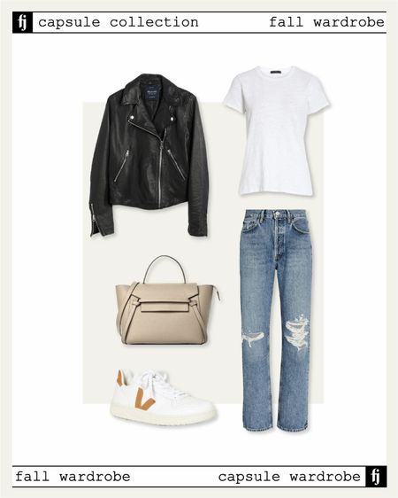 Fall capsule wardrobe! Black leather jacket casual fall outfit idea with jeans and Veja sneakers   #LTKunder100 #LTKunder50 #LTKstyletip