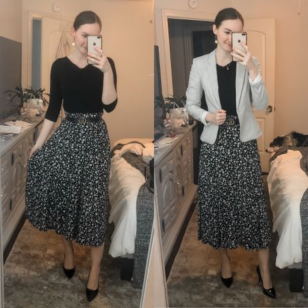 Business casual, work wear, office wear, wear to work, modest work outfit, midi skirt work outfit, skirt and blazer  #LTKworkwear
