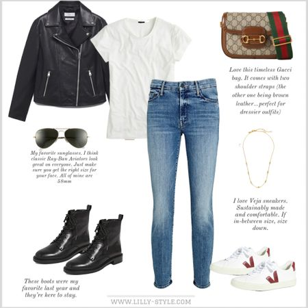 Fall outfit with moto jacket. I love it equally with sneakers and boots