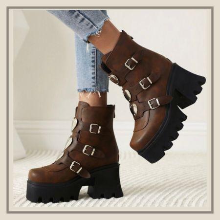 Belted decor chunky platform boots  #LTKshoecrush #LTKunder50 #LTKstyletip