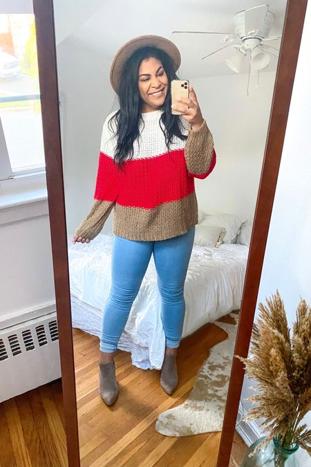 """Use code """"carlene15"""" for 15% off Shop Hopes ♥️ Sweater: TTS, wearing size L. Jeans: 15. Booties: best investment all season! #liketkit http://liketk.it/2XZRW  @liketoknow.it #booties #falloutfit #fallootd #fallstyle #everydayoutfit #casualoutfit #curvystyle #plussize #LTKcurves #shophopes  #LTKFall #LTKcurves #LTKunder50"""
