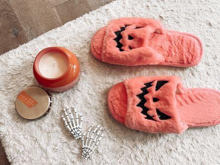Halloween slippers from Amazon Skeleton hand hair clips  Capri blue volcano candle Halloween decor    #LTKhome #LTKSeasonal