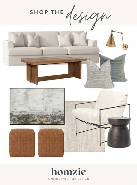 Our latest Homzie Designer Collection - curated + stoppable room design. This living room design is neutral and classic with a great modern accent chair, brass sconce light, abstract art, neutral sofa, and these woven ottomans we love!   #LTKstyletip #LTKhome #LTKsalealert