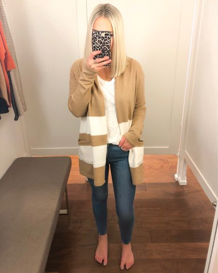 Striped tan and white cardigan (XS) from LOFT with skinny jeans and white tee!! 50% off with code OMG http://liketk.it/2Fmkk @liketoknow.it #liketkit #LTKsalealert