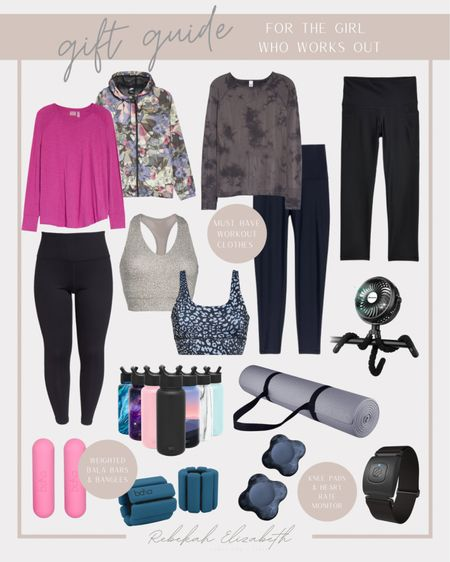 Gift guide for the girl who works out | workout tops • sports bra • printed jacket • water bottles • yoga mat • knee and wrist pads • heart rate monitor • leggings #rebekahelizstyle   #LTKGiftGuide #LTKfit #LTKHoliday