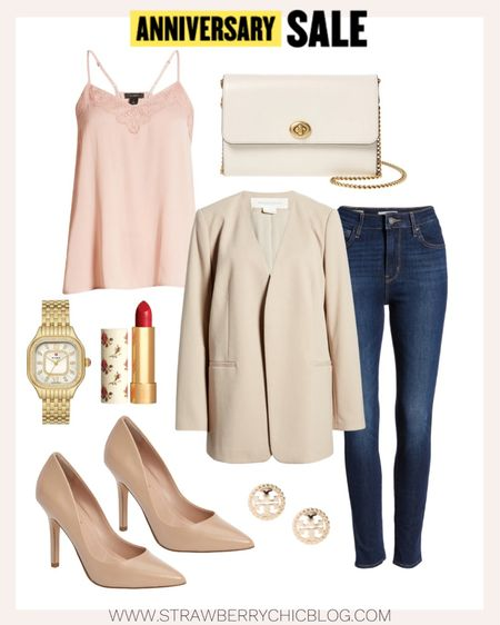 This outfit can take you from day to night with a quick change into denim jeans. This lace pink camisole under the collarless blazer are both timeless pieces.   #LTKworkwear #LTKstyletip #LTKSeasonal