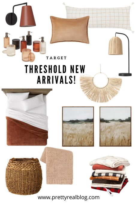 Can't get over these gorgeous fall new arrivals! Art, rattan lamp, big basket, plug in sconce, fall throws, fall throw pillows, long lumbar, target, threshold, heated blanket   #LTKhome #LTKunder50 #LTKSeasonal