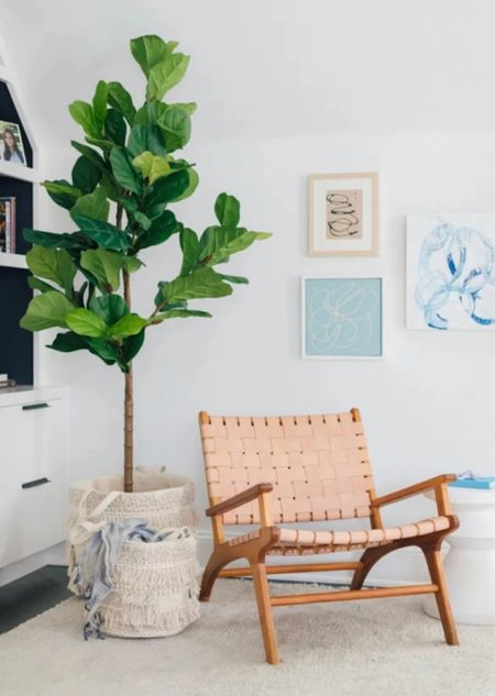 Family room woven chair faux plant baskets side table decor and furniture Walmart home finds  #LTKunder100 #LTKhome #LTKstyletip