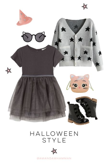 Halloween, fall fashion, girls, kids, black tutu, tutu dress, star sweater, black boots, SHEIN, H&M   #LTKSeasonal #LTKfamily #LTKkids