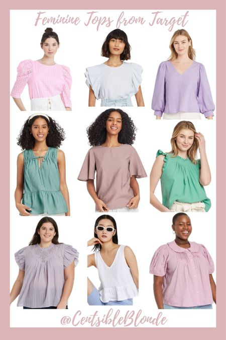 Summer feminine tops from Target, ruffle sleeves, puff sleeves, sleeveless tops, tops for work, work tops.    http://liketk.it/3iy2Z #liketkit @liketoknow.it #LTKunder50 #LTKworkwear #LTKstyletip