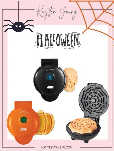 Halloween kitchen for kids mini waffle maker skull pumpkin spider web