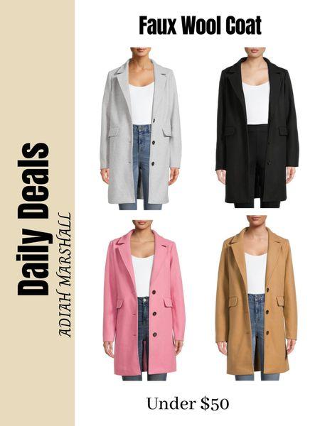 Faux Wool Coat under $50  #LTKHoliday #LTKSeasonal #LTKGiftGuide