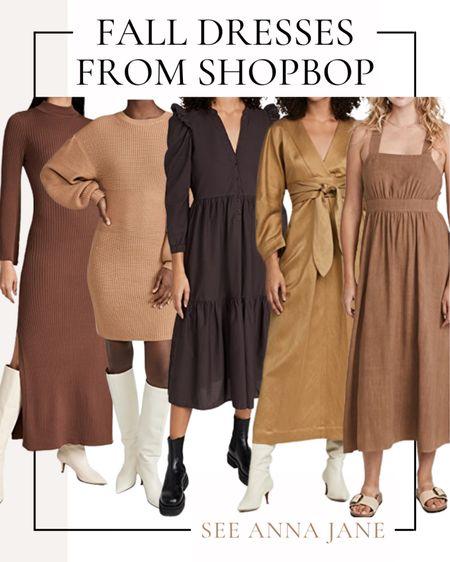 Fall Dresses From Shopbop 🍂  #falldress #fallfashion #fallstyle #maxidress #shopbop #fallclothing #falloutfits #falloutfitideas #browndress #fallclothing #mididress  #LTKstyletip #LTKSeasonal