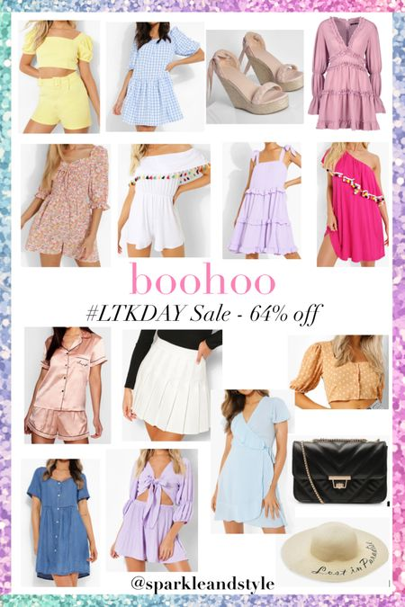 LTK Day Sale: boohoo - 64% off    http://liketk.it/3hqBz @liketoknow.it #liketkit #LTKsalealert #LTKunder100 #LTKDay   Summer fashion, summer styles, summer clothes, summer dresses, summer shoes, summer bags, summer purses, summer skirts, summer hats, summer accessories, two piece set, top and shorts set, gingham dress, braided espadrille tie up wedges, ruffle dress, floral romper, off the shoulder Tassel romper, tie up sleeve dress, one shoulder Pom Pom dress, silk satin Pajama pj set, tennis pleated skirt, wrap dress, polka dot top, chambray dress, quilted purse, floppy sun hat, wrap crop top and shorts set