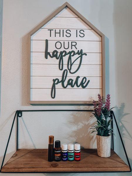 Happy Place Sign & Essential Oil Roller Bottles  http://liketk.it/3jyee @liketoknow.it #liketkit   #LTKhome #LTKunder50 #LTKunder100  Essential Oils, Home Decor, Home Items, Decor, Farmhouse Decor, Faux Plants, Plant