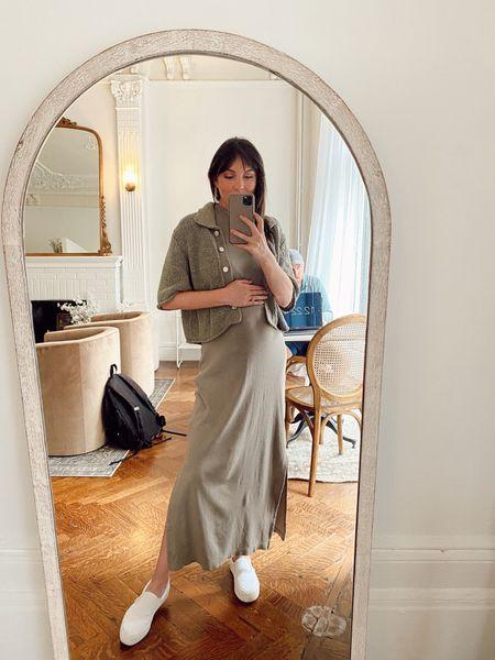 Comfy maxi dress mock neck with short sleeve polo sweater and slide on sneakers   #LTKunder100 #LTKsalealert #LTKunder50