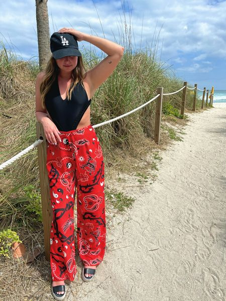 Beach day outfit. Beach pants are a must! I am also loving this Devon Windsor cut-out one piece so much!  http://liketk.it/3bfMd #liketkit @liketoknow.it #LTKtravel #LTKunder100 #LTKstyletip