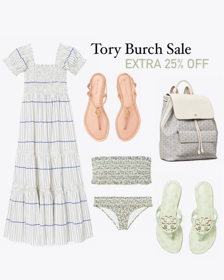 Tory Burch sale! Extra 25% off with code: extra (at checkout) http://liketk.it/3i27D #liketkit @liketoknow.it #LTKstyletip #LTKsalealert #LTKunder50 Tory Burch Miller sandals, blue and white dress, Tory Burch backpack, summer fashion, vacation outfit, beach outfit, beach vacation, pool, travel , diaper bag, jelly sandals, smocked bikini,