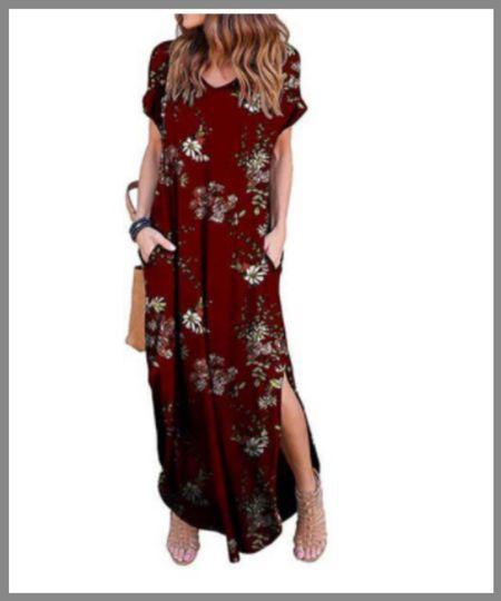 Walmart maxi dress, short sleeves that would make a great summer dress or fall wardrobe piece.  #LTKunder50