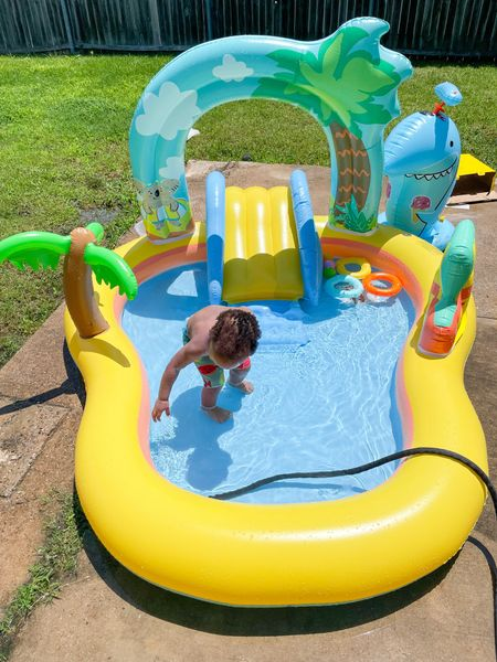 If you're needing something to keep your #Toddler entertained and cool this summer, then def snag one of these bad boys😍🔥 We got this pool from Target & it's under $50👏🏼 it took maybe ten minutes to blow and fill it up!  My little man had a smile on his face the whole time so I definitely recommend😌💕  I bought an air pump from Target too cause ain't nobody got time to try inflate that themselves😂 it's on sale for $10 and some change so I linked it all here for ya😏💕 #LTKtoddler #LTKfamily #BoyMom #SummerActivity  #LTKunder100 #LTKfamily #LTKswim #LTKsalealert