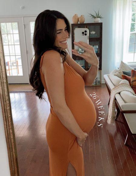 Amazon finds amazon fall dress midi dress burnt orange dress game day outfit ribbed dress bump friendly finds maternity outfit   #LTKunder50 #LTKstyletip #LTKbump