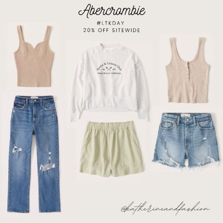 Abercrombie summer outfits - sweater tank, ribbed tank, sports sweatshirt, linen shorts, denim shorts, straight leg denim     #LTKsalealert #LTKunder100 #LTKDay