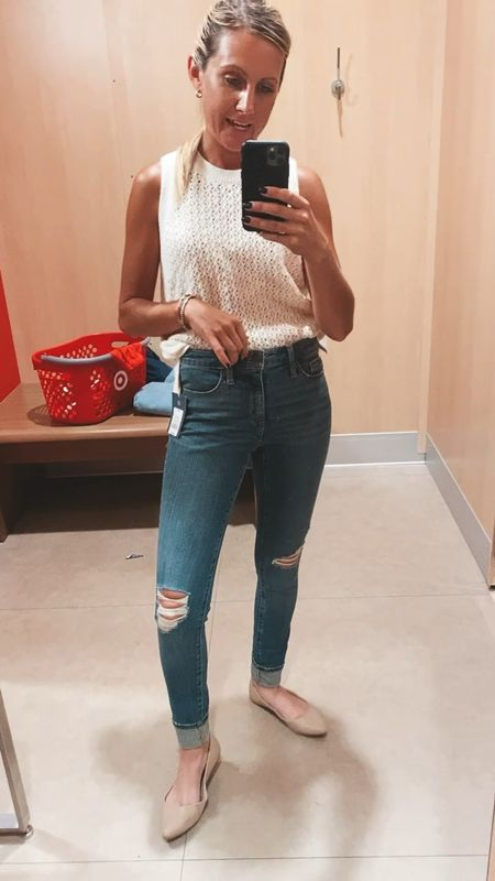Wearing this sleeveless sweater and the universal three high rise skinny Jeans Great fabric in medium wash with minimum distressed  Cheap Agolde dupe jeans Target style   #LTKsalealert #LTKDay #LTKSeasonal  #LTKDay #LTKsalealert #LTKunder50